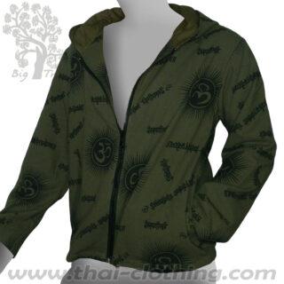 Dark Green Thin Cotton Hoodie Jacket - Om & Sanskrit BIG TREE Thailand