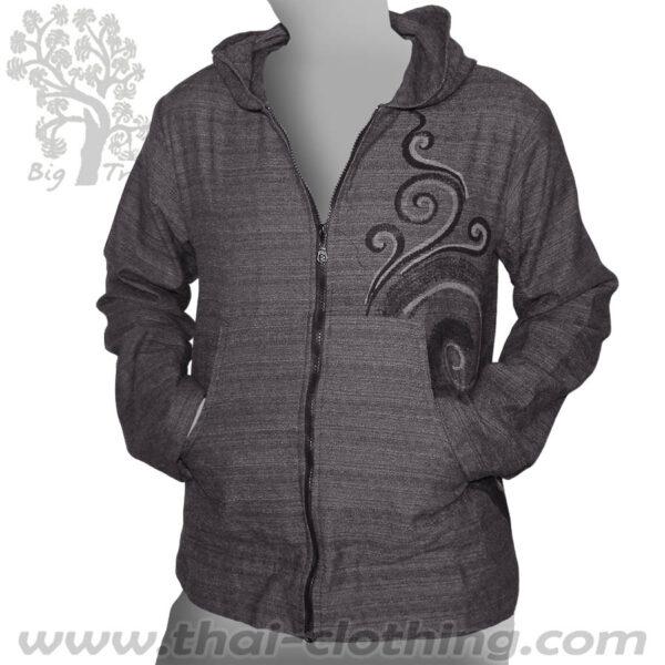 Grey Thin Cotton Hoodie Jacket - BIG TREE