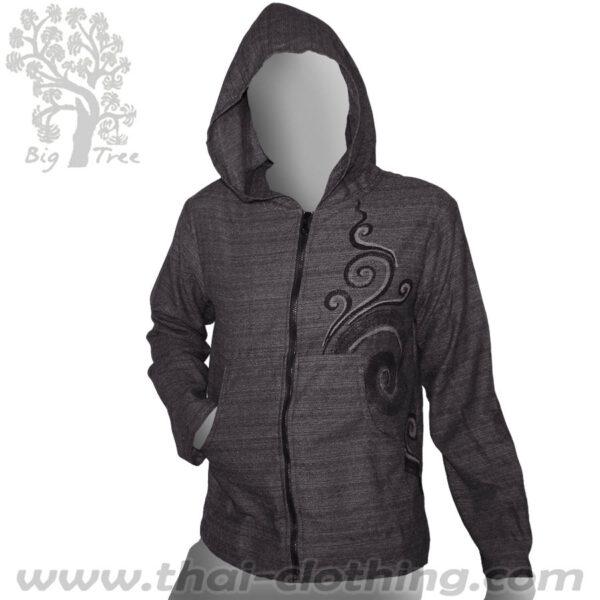 Grey Cotton Hoody Jacket - BIG TREE