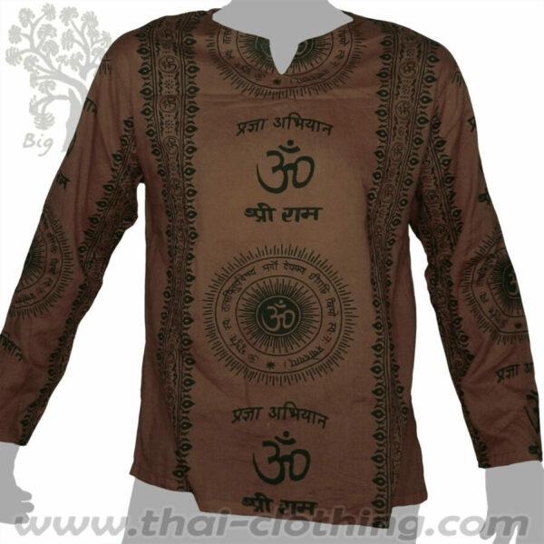 Brown Long Sleeve Shirt - Om Sun & Sanskrit - BIG TREE