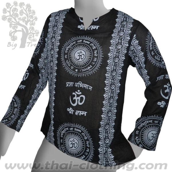 Black Long Sleeve Shirt - Om & Sanskrit - BIG TREE