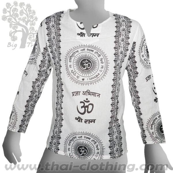 White Long Sleeve Shirt - Om Sun & Sanskrit - BIG TREE