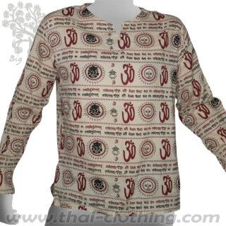 Beige Long Sleeve Shirt Om Sun Ganesha Sanskrit - BIG TREE