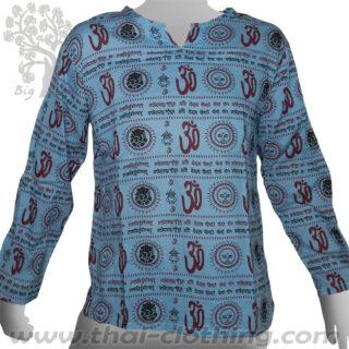 Blue Long Sleeve Shirt Om Sun Ganesha Sanskrit - BIG TREE