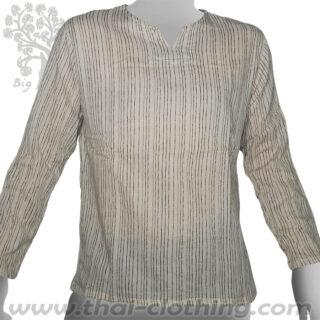 Beige Long Sleeve Shirt thin lines - BIG TREE