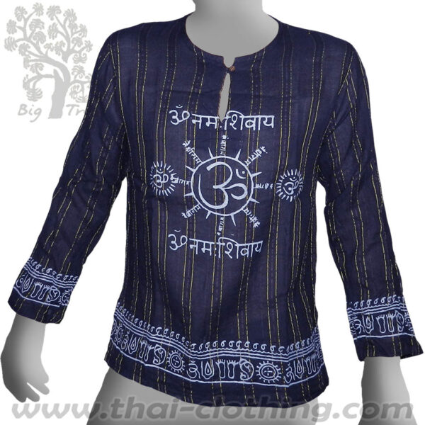Dark Blue Long Sleeve Shirt - Woven Stripes Om - BIG TREE
