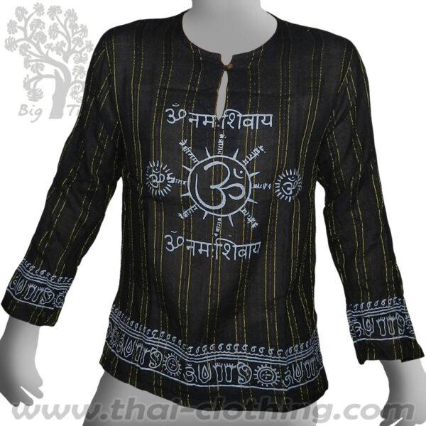 Black Thin Long Sleeve Shirt - Woven Stripes Om - BIG TREE