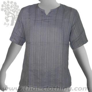 Grey Cotton Short Sleeve Shirt - Woven Stripes BIG TREE