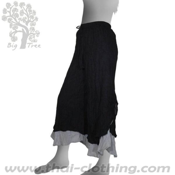 Black Double Layer Thai Pants - BIG TREE - Women