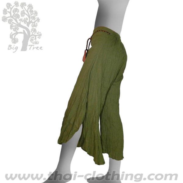 Olive Green Flared Thai Pants - BIG TREE - Women