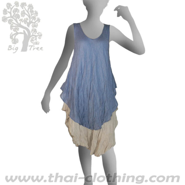 Blue Double Layer Dress Long - BIG TREE - Women