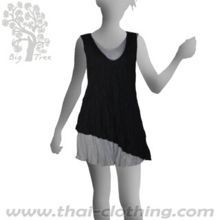 Black Double Layer Dress Short - BIG TREE - Women