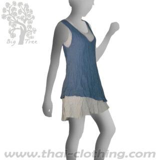 Light Blue Double Layer Dress Short - BIG TREE - Women