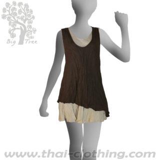 Brown Double Layer Dress Short - BIG TREE - Women