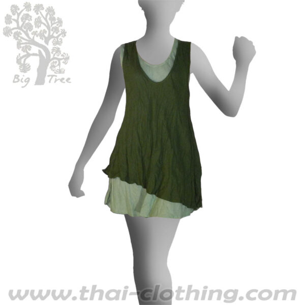 Green Double Layer Dress Short - BIG TREE - Women