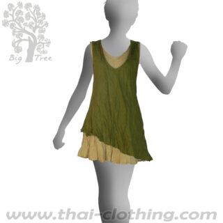 Olive Green Double Layer Dress Short - BIG TREE - Women