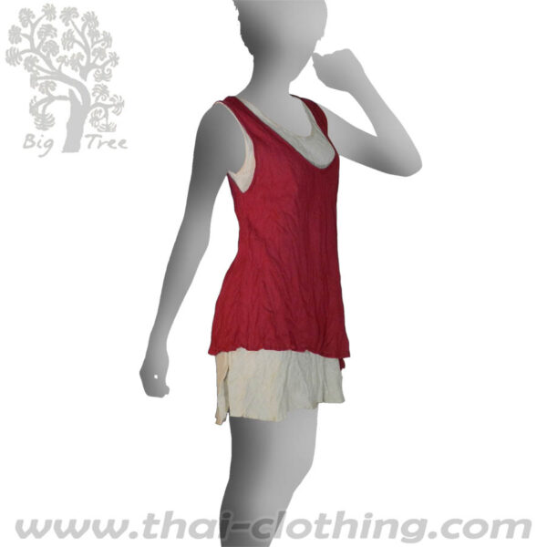 Red Double Layer Dress Short - BIG TREE - Women
