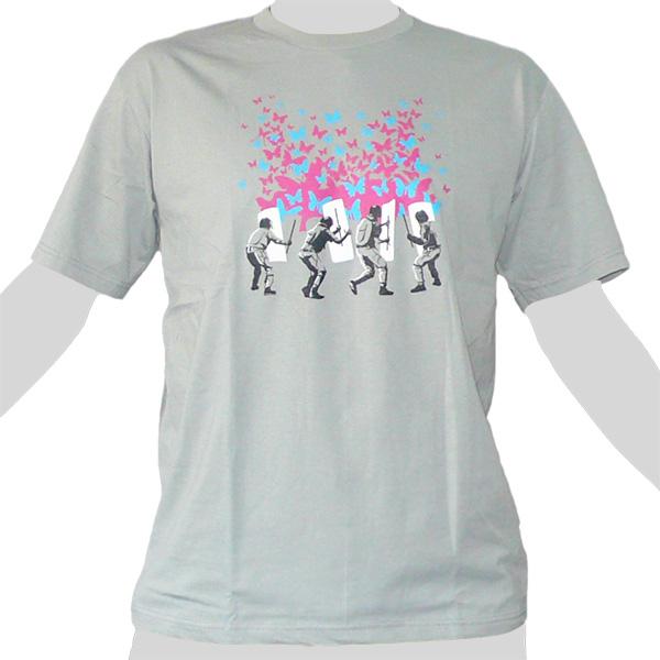 Police vs Butterflies - light grey ROCKY T Shirt