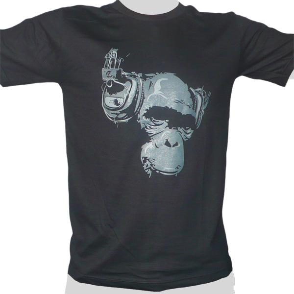 Headphone Monkey - black ROCKY T Shirt