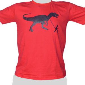 Dinosaur Pet - T Rex on the Leach - red ROCKY T Shirt