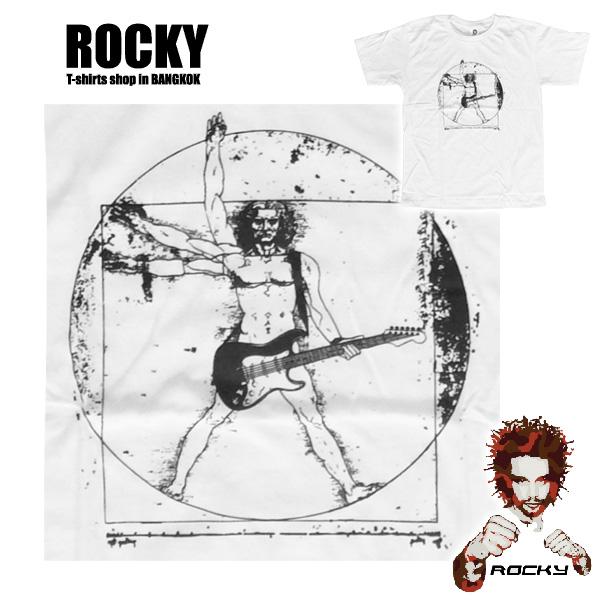 Da Vinci Rocking Vitruvian Man - white ROCKY T Shirt