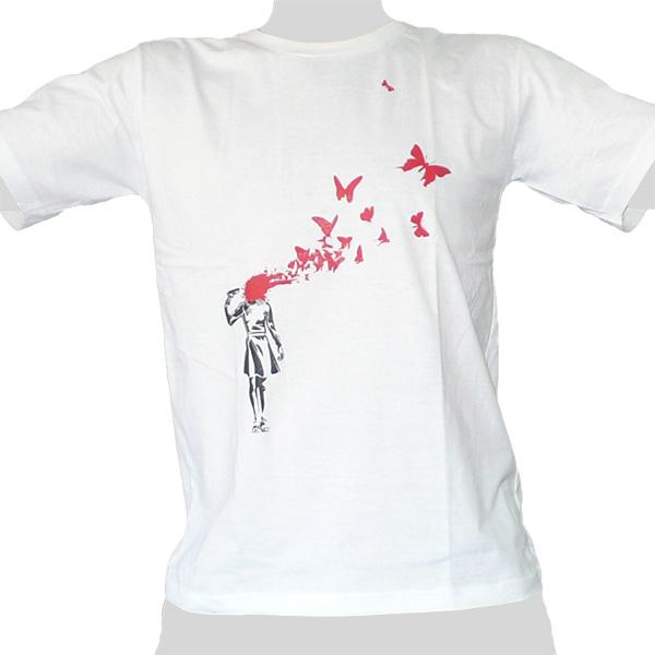 Headshot Butterflies - white ROCKY T Shirt Thailand