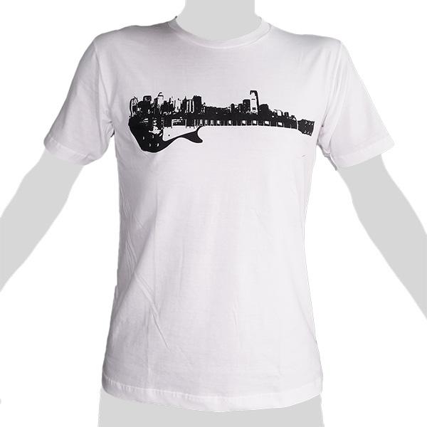 Guitar City Skyline - white ROCKY T Shirt Thailand