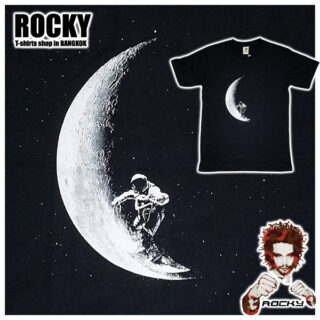 Astronaut Moon Surfer - white ROCKY T Shirt Thailand